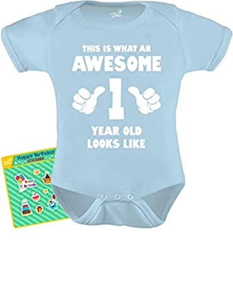 TeeStars - This Is What an Awesome One Year Old Looks Like Funny Baby Bodysuit Newborn Aqua
