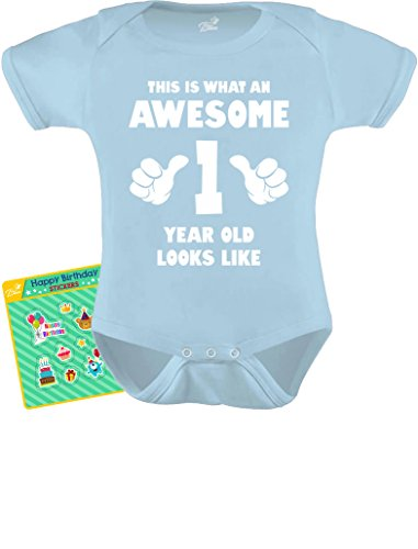 hat an Awesome One Year Old Looks Like Funny Baby Bodysuit 24M Aqua ()