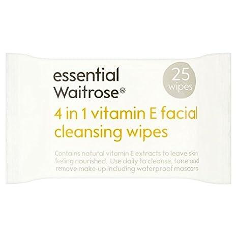Esencial 4 En 1 Toallitas Desmaquillantes De Vitamina E Waitrose 25 Por Paquete (Paquete de