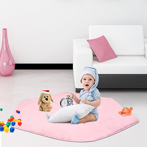Youth Kids Furniture (Sunba Youth Pink Hexagon Pad Mat Coral Soft Mat Rug Carpet for Kids Play Tent Playhouse)