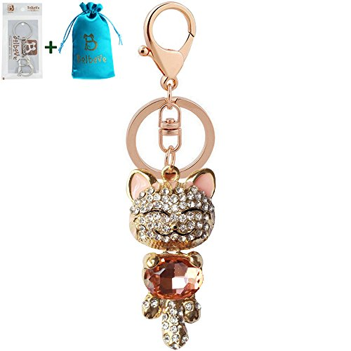 Bro'Bear Cute Kitten Sparkling Keychain Blingbling Crystal Rhinestone Handbag Charm for Cat Animal Lovers Diamond Kitty Key Ring/Chain Holder Purse Car Hanging Pendant Decoration Gift (Champagne)