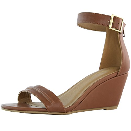 DailyShoes Women's Summer Fashion Design Ankle Strap Buckle Low Wedge Platform Heel Sandals Shoes, Brown PU, 8.5 B(M) US (Womens Wedge Heel Brown)