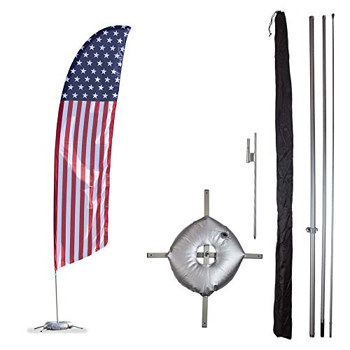 Vispronet Premium USA Feather Flag Kit - Includes 13ft Sectional Aviation Grade Fiberglass Poles, USA Flag, Cross Base, Weight Bag, Ground Spike and Pole Sleeve Bag