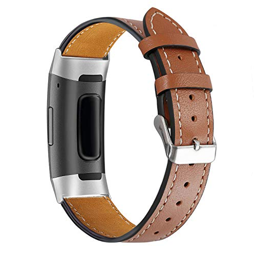 bayite Leather Bands Compatible Fitbit Charge 3 & Charge 3 SE, Genuine Leather Band Replacement Accessories Strap Charge3 Women Men, Brown