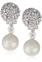 """Carolee """"Pearl and Crystal Basics"""" Simulated Pearl Drop Clip Earrings"""
