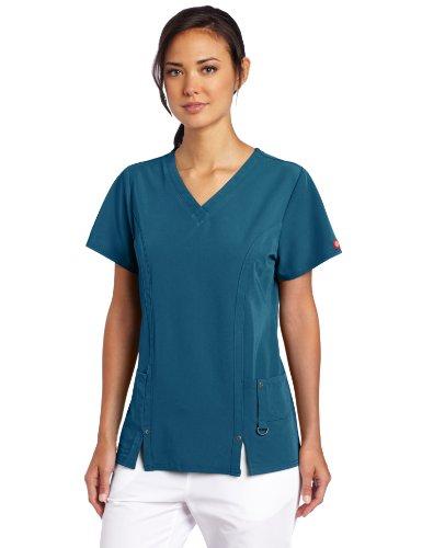 (Dickies Women's Xtreme Stretch V-Neck Scrubs Shirt, Caribbean,)