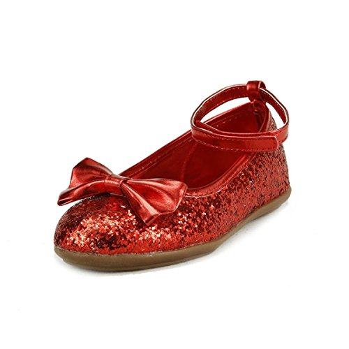 Girl's Sparkly Wedding Party Dress Shoes 4 Colors Ankle Wrap Toddler Size (9, red)