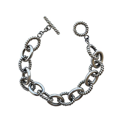 Designer Inspired 18k White Gold Plated Twisted Cable Link Bracelet with Toggle (Inspired Toggle Bracelet)