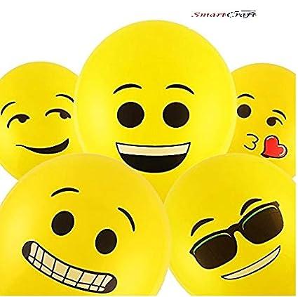 Smartcraft Emoji Balloons Latex Yellow Emoji Smiley Balloons Pack