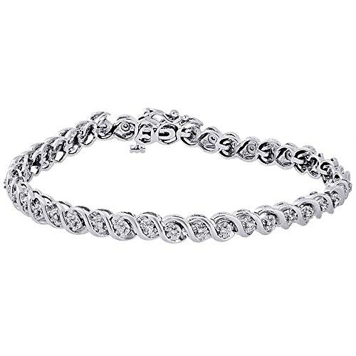 10K White Gold Round Cut Diamond Ladies S-Link Tennis Bracelet 0.50 Cttw