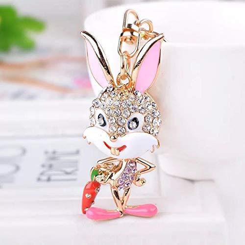 - UDBOK Keychain Fashion cartoon naughty rhinestone rabbit key chains cute bunny car keychain Charm metal key ring bag pendant,Pink