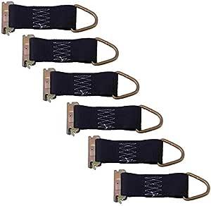 6-Pack 2in Wide Webbing Powertye Mfg E-Track D-Rings w//4in Webbing Silver-Zinc Coated Steel Connector