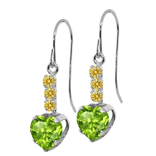 Gem Stone King 1.96 Ct Heart Shape Green Peridot Yellow Sapphire 925 Sterling Silver Earrings