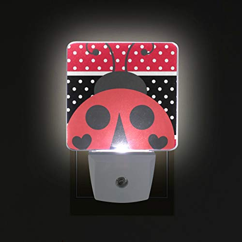 Brighter Red and Black Stripe Speckle Ladybirds LED Sensor Night Light for Kids&Adults Bedroom Dusk to Dawn Night Lights Lamp Perfect for Hallway,Dining Room