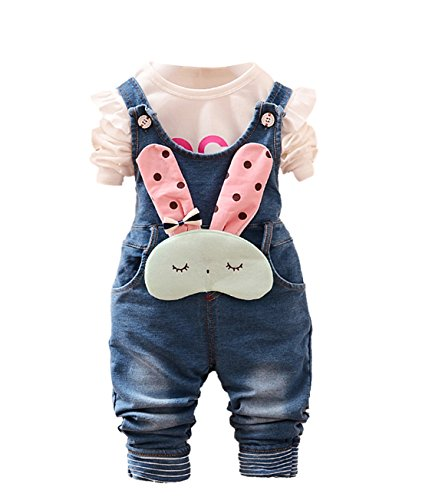 Chumhey Baby & Little Girls Blue Denim Overalls Pant Sets Bunny Decor