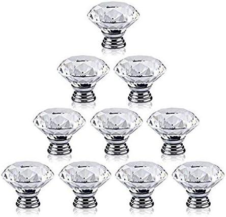 Perilla de cristal de vidrio ar 10 piezas Queenbox tiradores de gabinete transparentes de 30 mm armario perlas de gabinete transparentes en forma de diamante para muebles para el hogar caj/ón