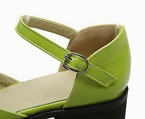 Talon TSFLH006421 à Sandales Verni AalarDom Bas Couleur Vert Boucle Unie Femme qUznxtp