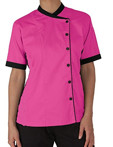 Short Sleeves Women's Ladies Chef's Coats Jackets (S (For Bust 34-35), Pink) ()