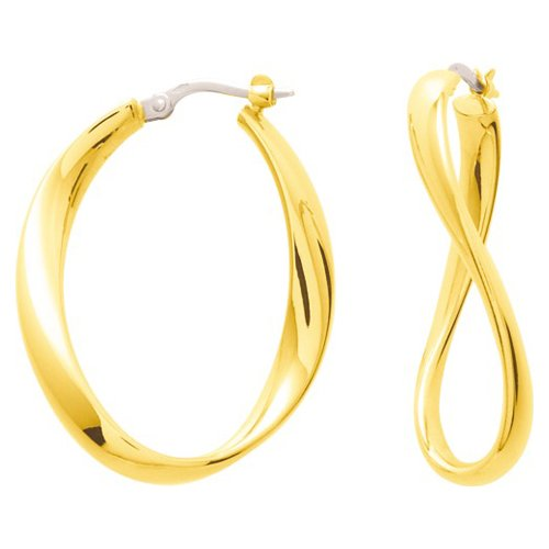 So Chic Bijoux © Boucles d'oreilles Femme Créoles Torsade Vague Fil Plat Arrondi Large Or Jaune 750/000 (18 carats)