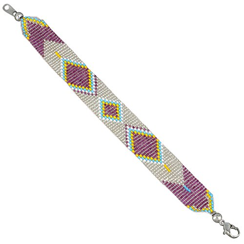 [Handmade Indian Glass Bead Friendship Bracelet - Beautiful COLOR,Silver White Yellow Turquoise] (Indian Beaded Bracelet)
