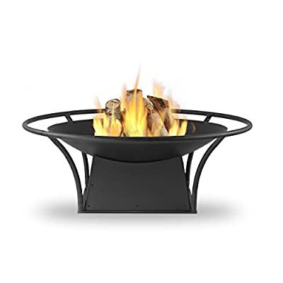 Real Flame 915-BLK Parker Wood Burning Fire Pit, Small, Black - Burns seasoned firewood Heavy gauge powder coated steel construction for durability Includes spark screen, log poker tool, log grate and protective storage cover - patio, outdoor-decor, fire-pits-outdoor-fireplaces - 41rsvHf3GzL. SS400  -
