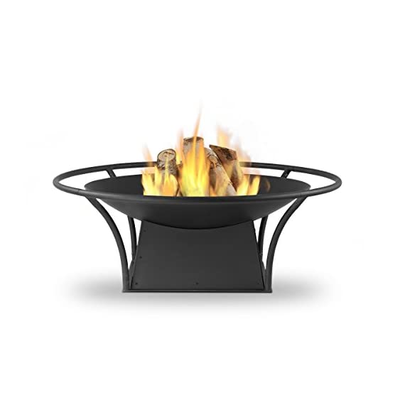 Real Flame 915-BLK Parker Wood Burning Fire Pit, Small, Black - Burns seasoned firewood Heavy gauge powder coated steel construction for durability Includes spark screen, log poker tool, log grate and protective storage cover - patio, outdoor-decor, fire-pits-outdoor-fireplaces - 41rsvHf3GzL. SS570  -