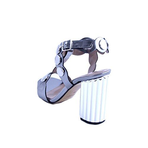 Donna Made Canna ALBANO con in Grigio Tallone Italy Borchie Sandali 10cm Taglia con 36 Prodotto Tacco al da Fucile Pelle di Cinturino Chiusura e Hxwqpw