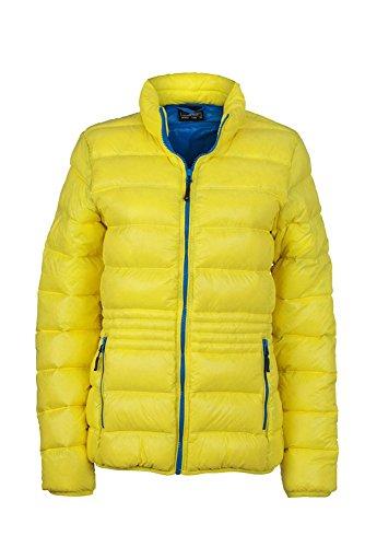 JN1063 Ladies' Winter Down Jacket Leichte Daunenjacke mit Stehkragen in sportlichem Style, Größe:XL;Farbe:Yellow-Azur