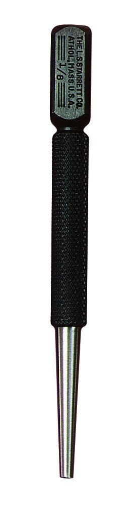 Starrett 800D Square-Head Nail Set Punch, 4'' Length, 1/8'' Punch Diameter