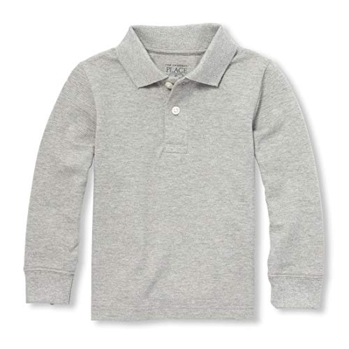 The Children's Place Boys' Little Long Sleeve Uniform Polo, Smokey, Small/5/6 (Best Place To Shop For Kids)