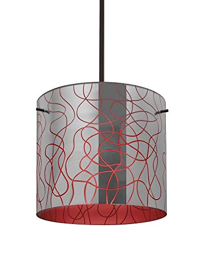 Besa Lighting 1TT-LITH12RD-BR Lithium 12 - One Light Stem Pendant, Bronze Finish with Lithium Red Glass ()