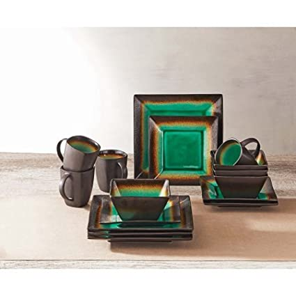 Amazon Com 16 Piece Jade Crackle Dinnerware Set Jade Green