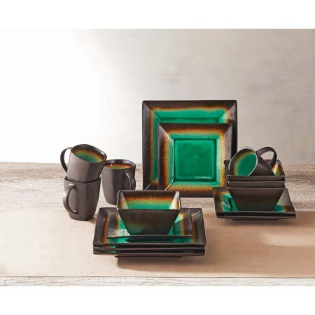 16-Piece Jade Crackle Dinnerware Set, Jade/Green