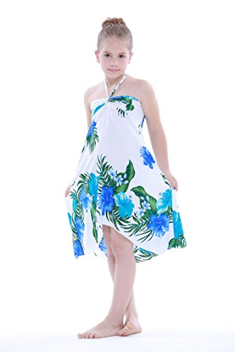 Aloha Fashion Girl Hawaiian Butterfly Dress in White with Floral