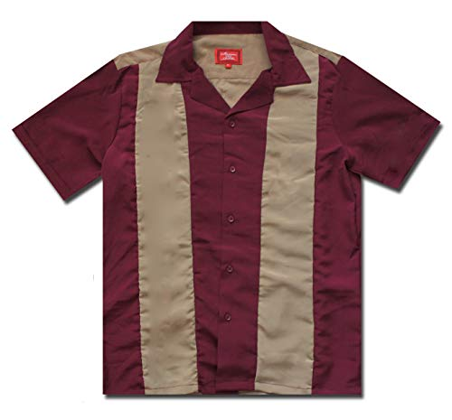 New Men's 2 Tone Latino Cuban Guayabera Retro Bowling Camp Dress Shirt (XXL, -