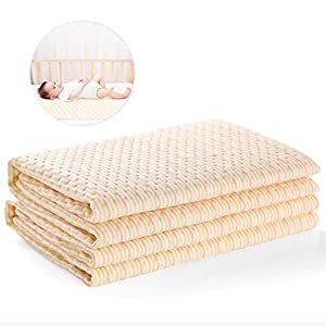 "Waterproof Baby Bed Pad Maveek 47.2"" x 27.6"" Baby Organic Cotton Mattress Pad Bamboo Blanket Toddler Bed Sheet Protector Reusable High Absorbent Mattress Protector Baby Diaper Changing Pad"
