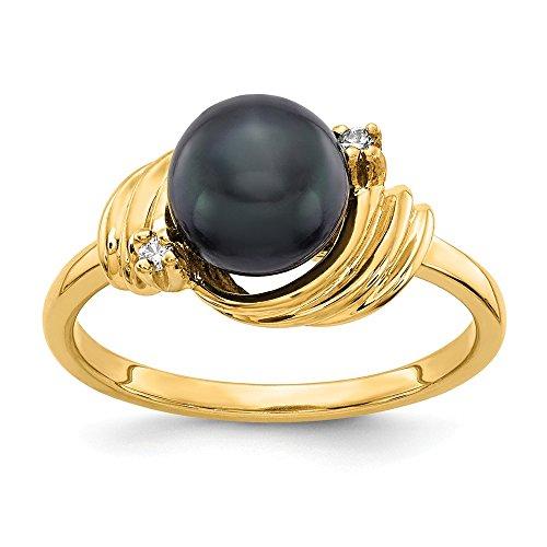 (14K Yellow Gold Black FW Cultured Pearl & Diamond Ring)