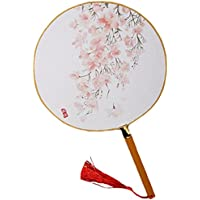 2PCS Cotton Fabric Fan Print Decor Bamboo Handle Round Hand Fan, Flowers