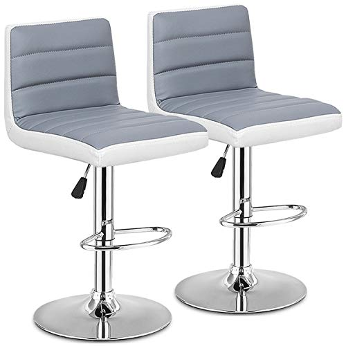COSTWAY Bar Stools Adjustable Swivel PU Leather Back Barstools Bistro Pub Set of 2