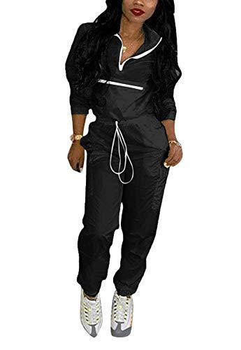 Women 2 Piece Outfits Tracksuit Jumpsuits Lightweight Windbreaker Pullover Jacket Crop Top Pants Set