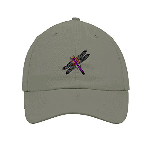 Hat Embroidered T-shirt (Dragonfly Embroidered SOFT Unstructured Adjustable Hat Cap Light Gray)