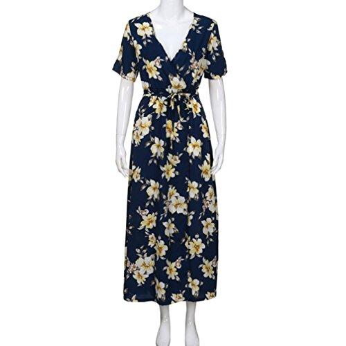 Women Holiday Dresses, Saihui Bohemian Hawaii Style Ladies High Waist Deep V-Neck Floral Print Short Sleeve Beach Long Maxi Dress (Navy, XL): Amazon.co.uk: ...
