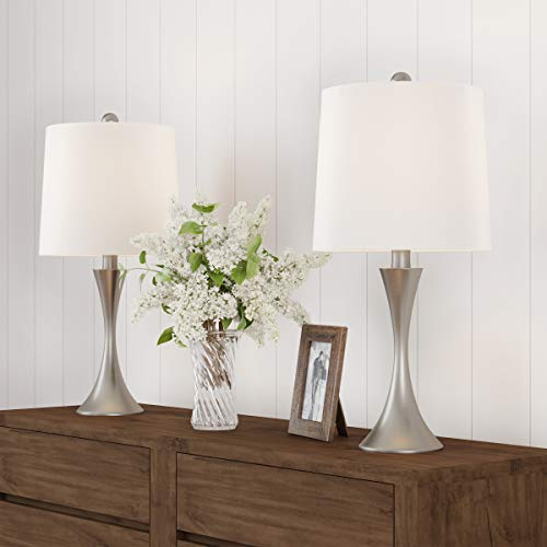 Flared Base - HOME Table Lamps - Set of 2 Mid-Century Modern Metal Flared Trumpet Base with Energy Efficient LED Light Bulbs Included (Silver)