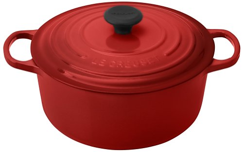Le Creuset Signature Enameled Cast-Iron 5-1/2-Quart Round French (Dutch) Oven, Cerise (Cherry - Round Red French Ovens