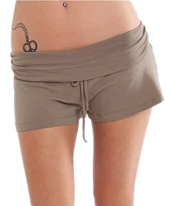 G2 Chic Women's Brown Foldover Knit Mini Shorts(BTM-SHT,BRN-S)