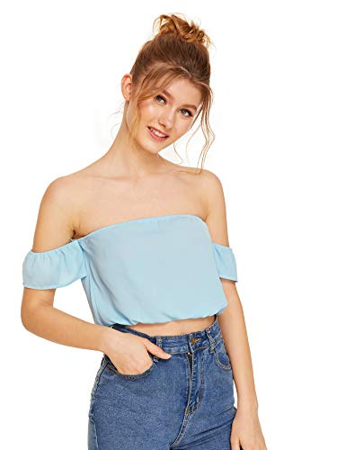 Milumia Women's Tie Front Strapless Off Shoulder Ruffle Short Sleeve Blouse Crop Top Blue Small