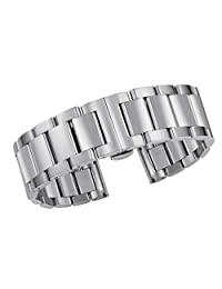 23mm Deployment Watch Strap Wristband in Silver High-End Stainless Steel Solid Links Straight End