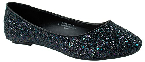Bamboo Shoes Womens Clore-93 Slip-On Round Toe Ballet Flats with Glitter Blackglt RRxbE5
