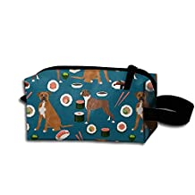 Boxer Dog Sushi Cute Pattern Portable Make-up Receive Bag Hand Cosmetic Bag Makeup Bag Sewing Kit Medicine Bag For Home Office Travel Camping Sport Gym Outdoor With Hanging Zipper