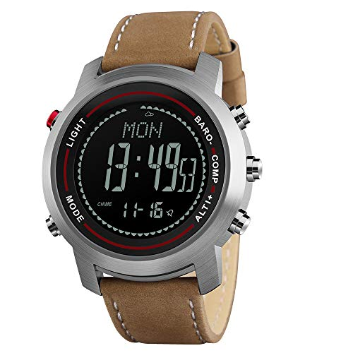 (Men Digital Sports Watches with Compass Pedometer Altimeter Barometer Military Waterproof Wristwatch)